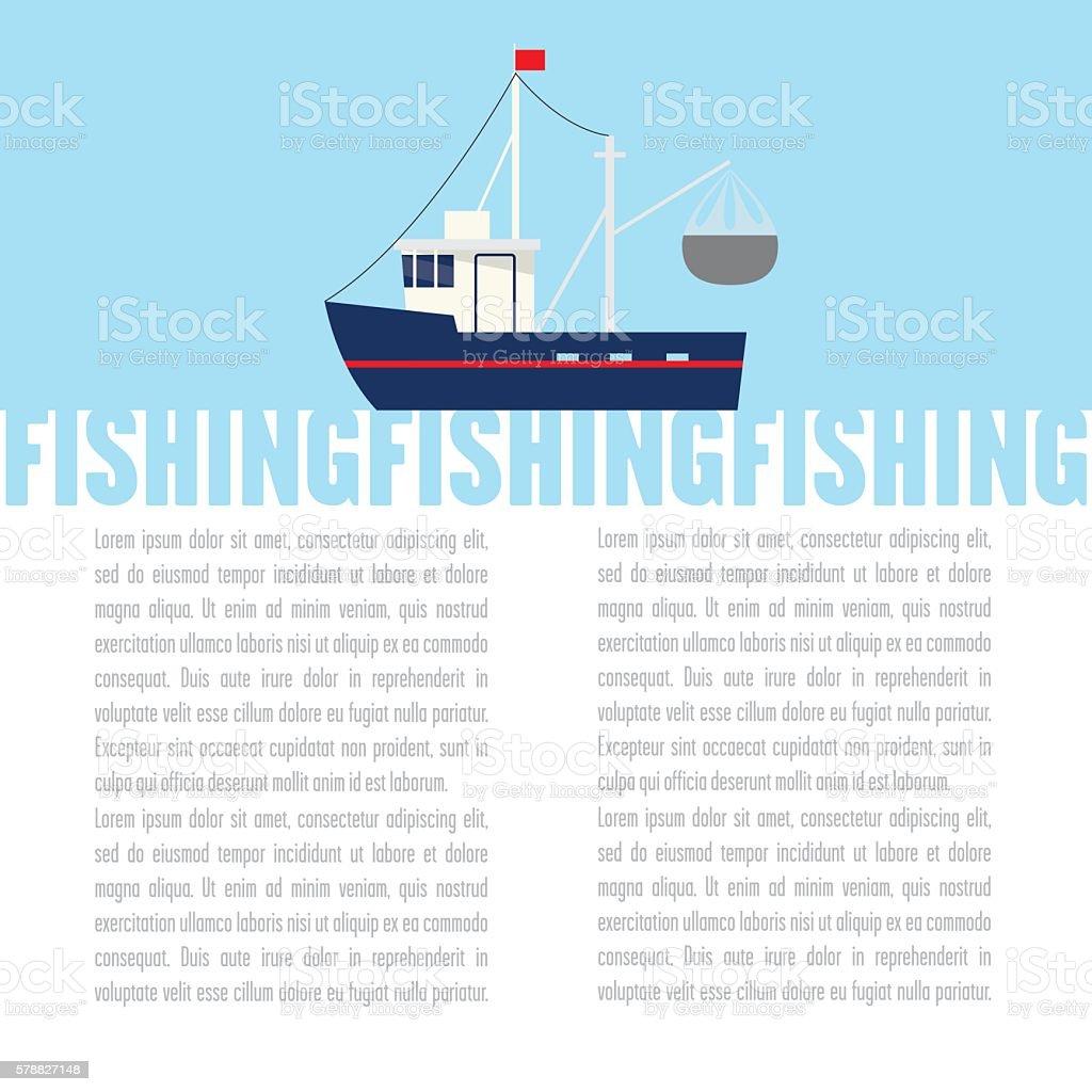 Sea teamplate fishing vector art illustration