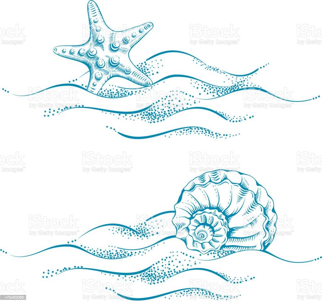 Sea theme vector art illustration