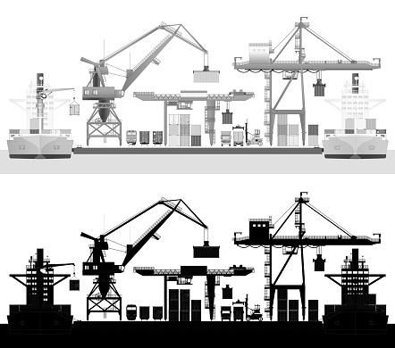 Sea trade port, container ship in cargo harbor. Vector
