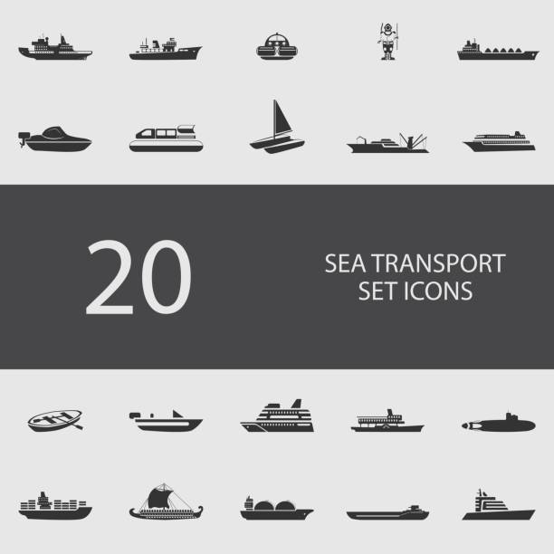 ilustrações de stock, clip art, desenhos animados e ícones de sea transport set of flat icons. vector illustration - fishing boat