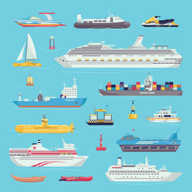 Sea transport set of water transportation shipping carriages isolated vector illustrations. Ship, yacht, boat vessel and cargo wherry, hovercraft. vector art illustration