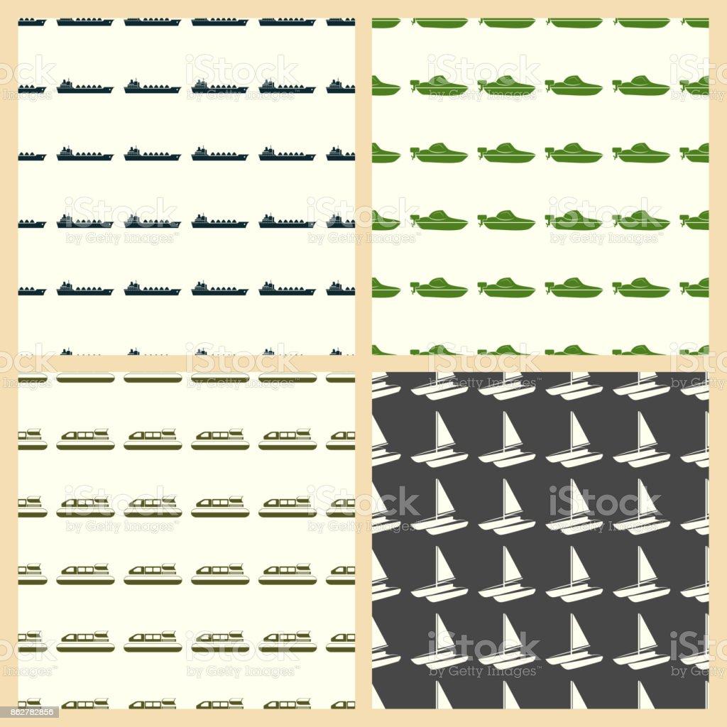 Sea transport vector illustration on a seamless pattern background vector art illustration