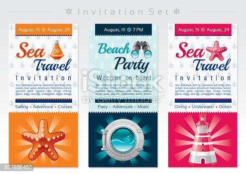 Sea travel and beach party invitation set