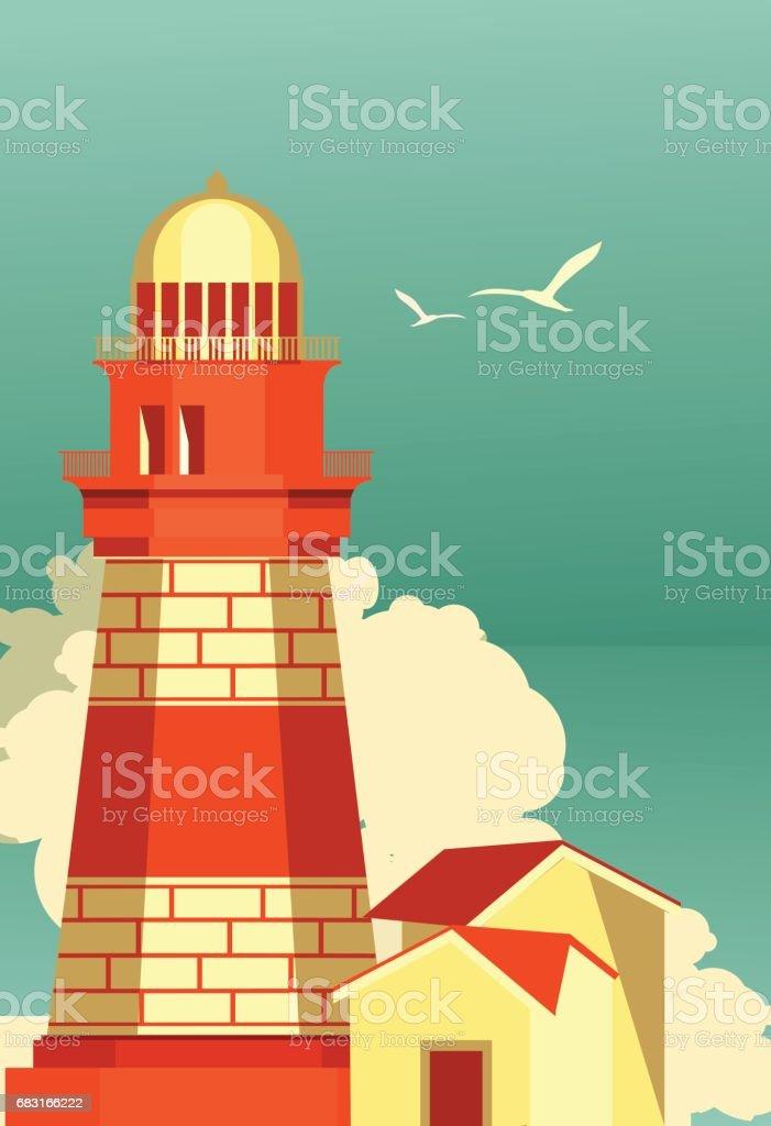 Sea travel vintage poster vector art illustration