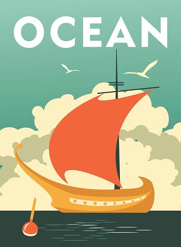 Sea travel vintage poster