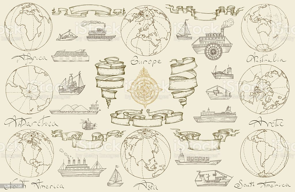 Mar viaje con retro los buques. - ilustración de arte vectorial