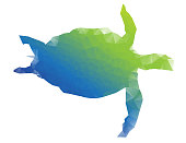 Vector of sea turtle abstract with pixel pattern isolated on a white background. EPS Ai 10 file format.