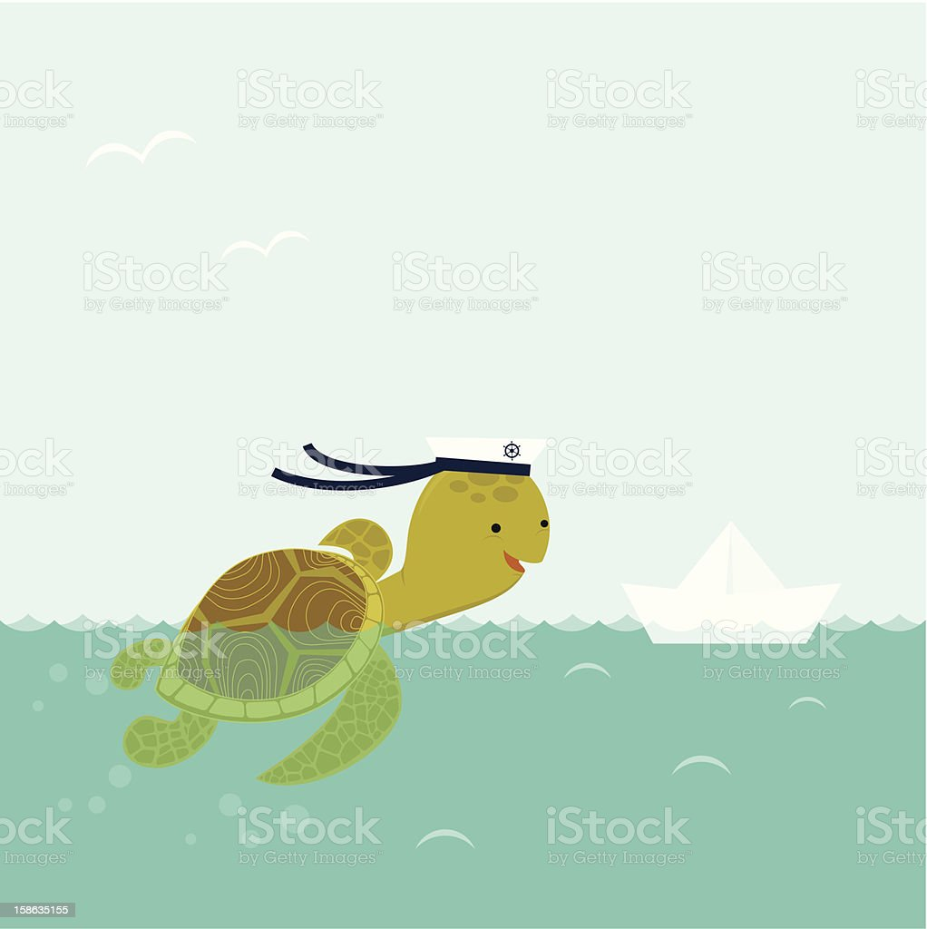 Sea turtle and paper boat vector art illustration