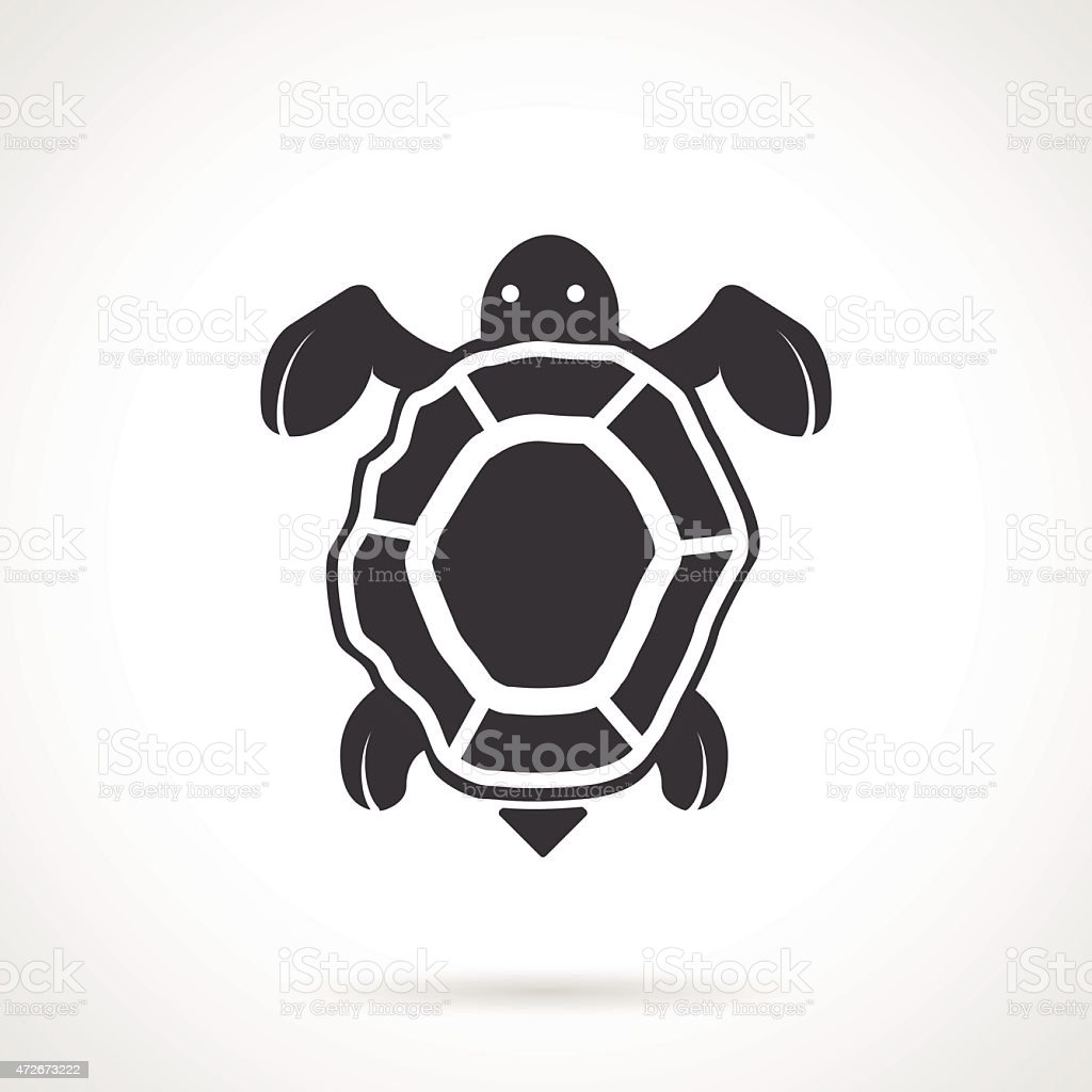 Sea turtle black vector icon vector art illustration