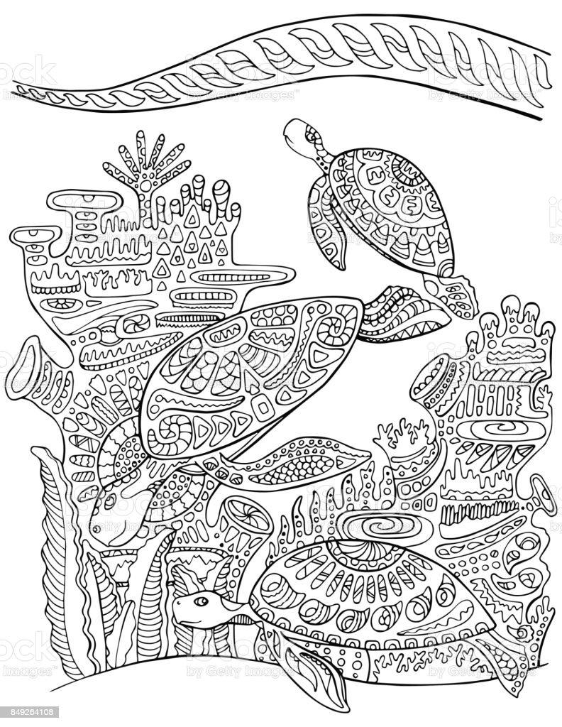 Vetores De Tartaruga Marinha Doodle Estilo Pagina Para Colorir