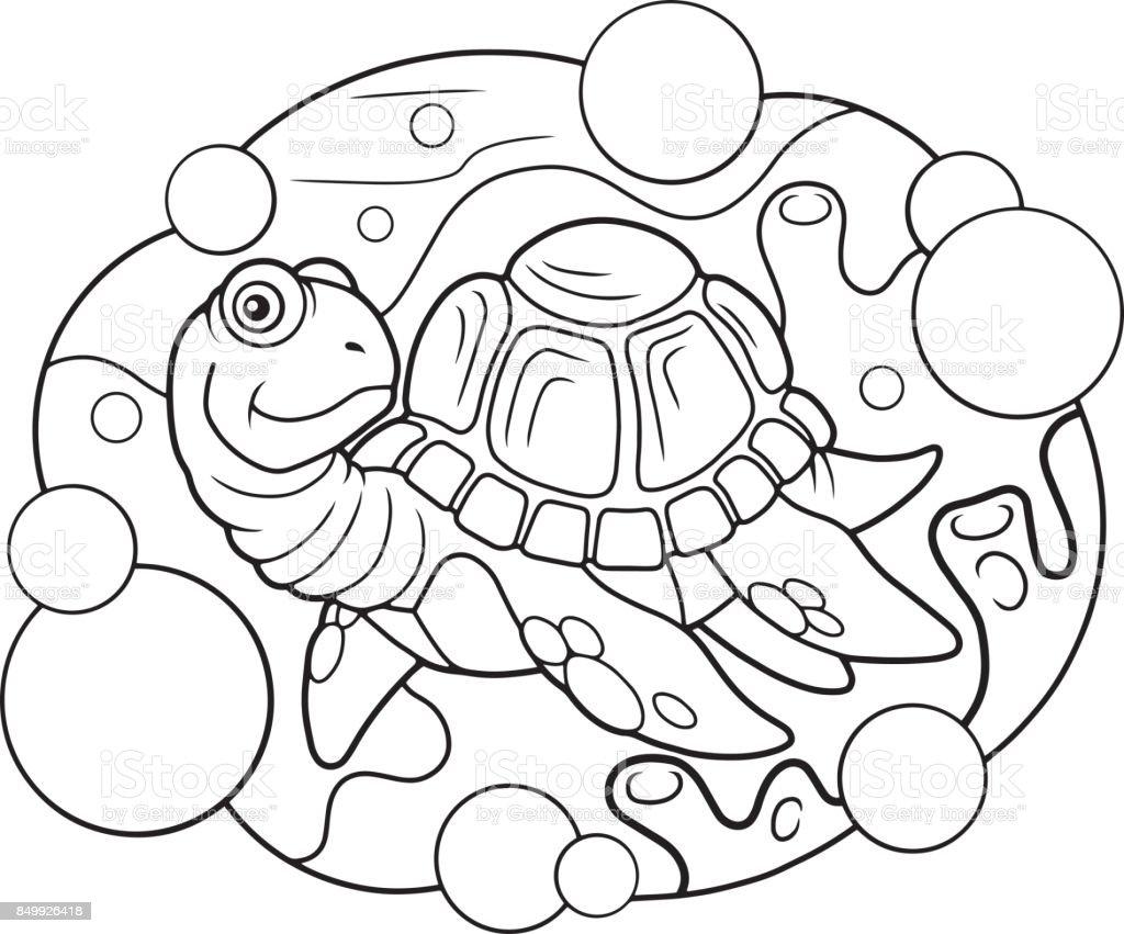 Deniz Kaplumbagasi Komik Illustrasyon Stok Vektor Sanati Boyama