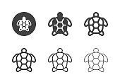 Sea Turtle Icons Multi Series Vector EPS File.