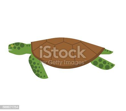 istock Color ilustración de dibujos animados de tortuga. El objeto está ...