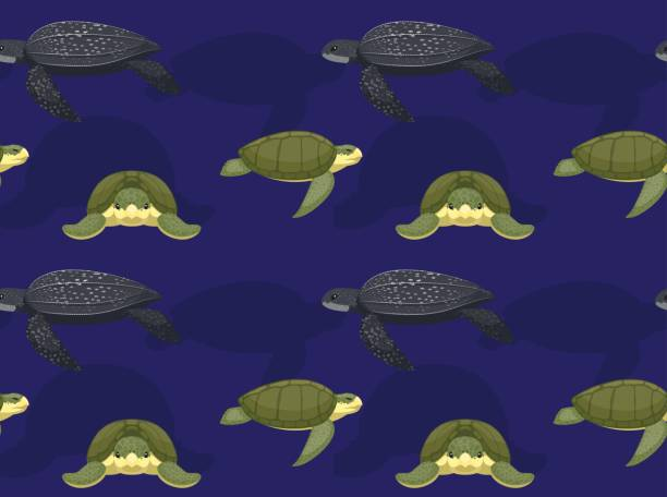 stockillustraties, clipart, cartoons en iconen met zee schildpad leder cartoon naadloze wallpaper - leatherback