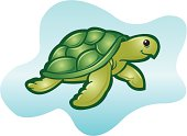 """Sea Turtle or Tortoise Cartoon. Graphic Sea Turtle with Decorative Background. Check out my """"Nautical & Beach"""" light box for more."""