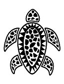 Sea turtle pattern inspired of Fiji and Pacific Islands traditional design elements.