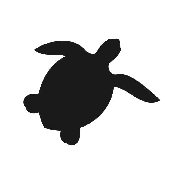 illustrazioni stock, clip art, cartoni animati e icone di tendenza di sea turtle shape icon - tartaruga marina