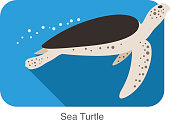 Sea Turtle swimming in the sea, flat illustration vector
