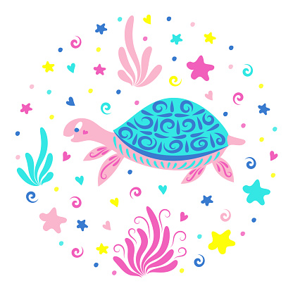 Sea turtle swims among the seaweed and starfish. Children's illustration. Cute sea creatures. Stock vector illustration. The isolated image on a white background. Underwater world.
