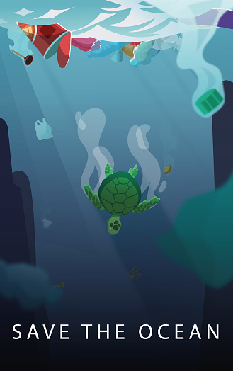 Sea Turtle trying to escape from the oceans pollution.