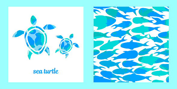 sea turtles and fishes