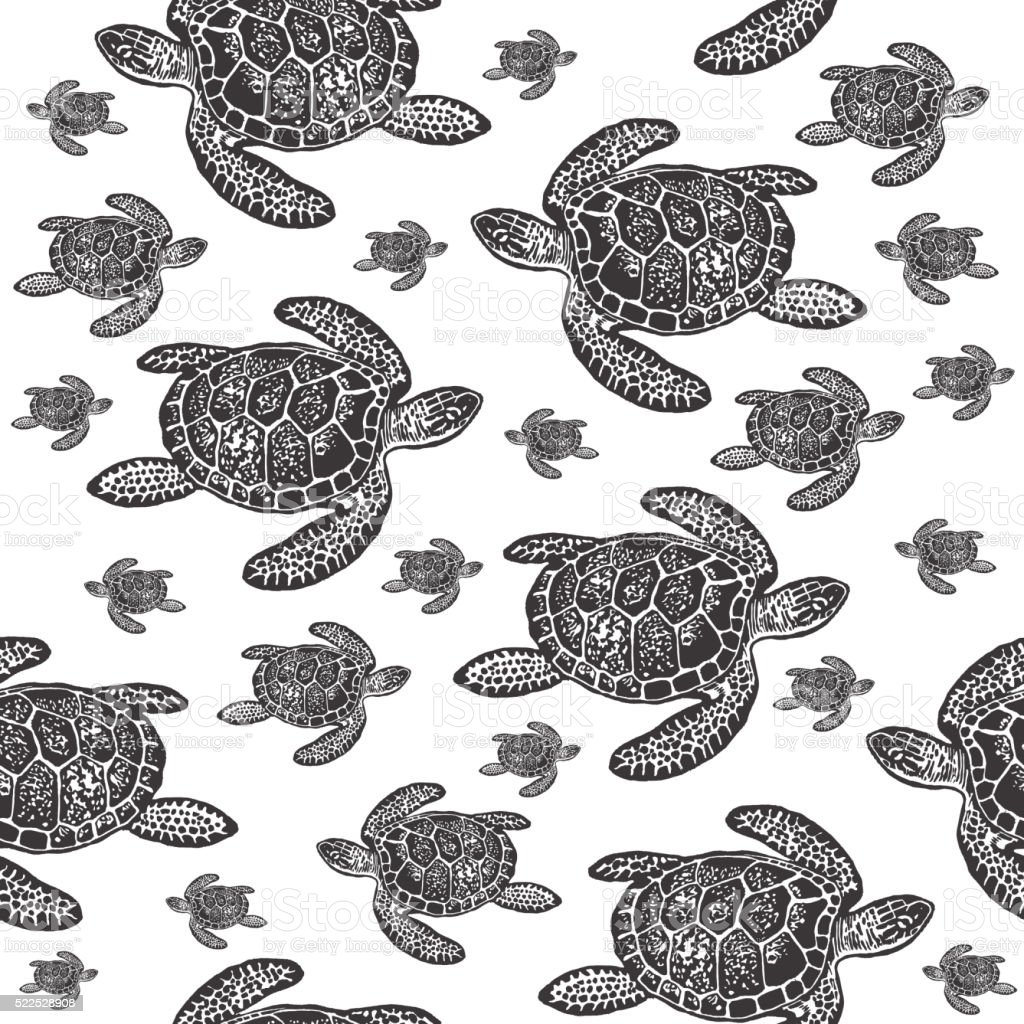 Sea Turtles black and white seamless vector pattern. vector art illustration