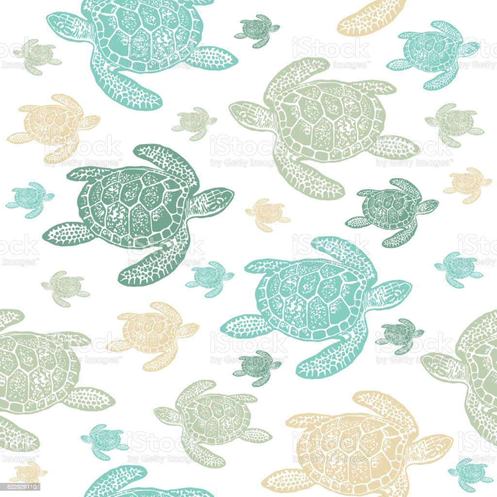 Tortugas De Mar Frondoso Vector De Patrón Sin Costuras Illustracion ...
