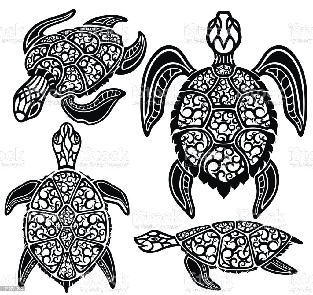 Tortugas De Mar - Arte vectorial de stock y más imágenes de Animal ...