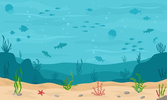 Sea underwater background. Marine sea bottom with underwater plants, corals and fishs.