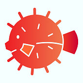 Sea urchin flat icon. Hedgehog fish illustration isolated on white. Marine urchin gradient style design, designed for web and app. Eps 10