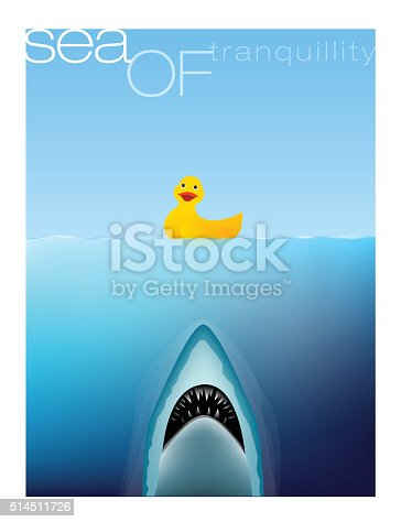 Picture of a rubber duck floating on the sea with a shark rising up from under the ocean ready to grasp it in it's sharp teeth like in the Movie