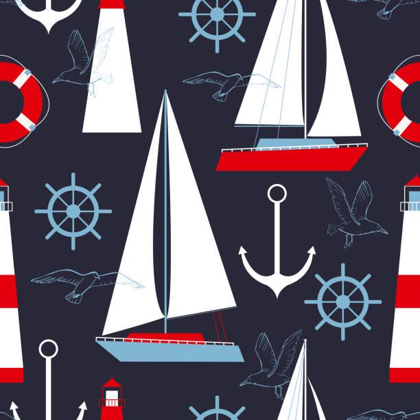 illustrazioni stock, clip art, cartoni animati e icone di tendenza di modello vettoriale marino con yacht e fari. - ambientazione tranquilla