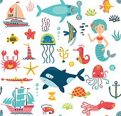 Vector seamless pattern Sea characters