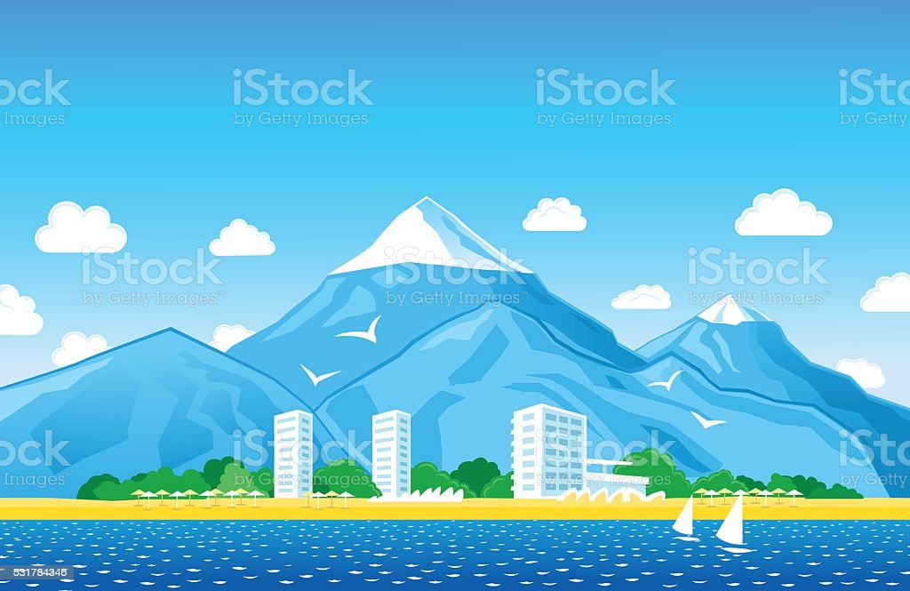 Sea View with mountains peaks vector art illustration