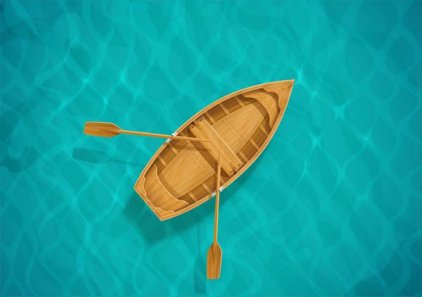 bildbanksillustrationer, clip art samt tecknat material och ikoner med havsvatten och träbåt. havsytan med våg. segelfartyg. - wood stone