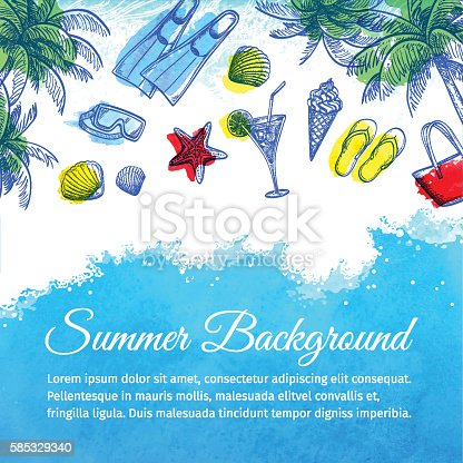 istock Sea watercolor background. 585329340