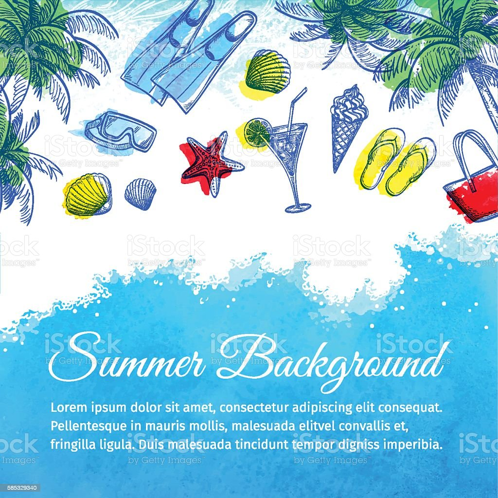 Sea watercolor background. vector art illustration