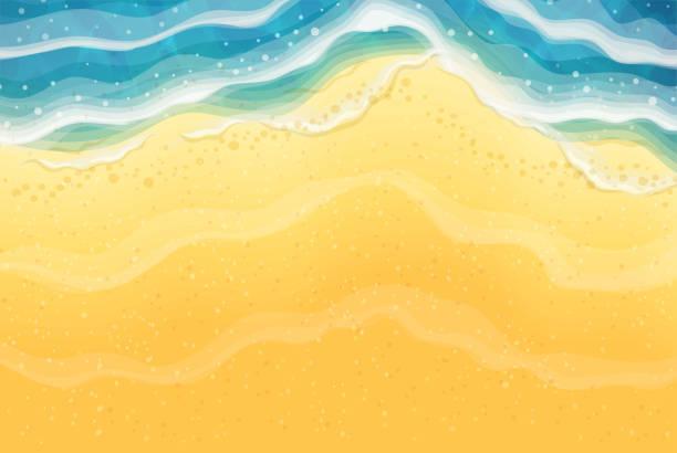 ilustraciones, imágenes clip art, dibujos animados e iconos de stock de olas y arena de playa. vista superior. - arena