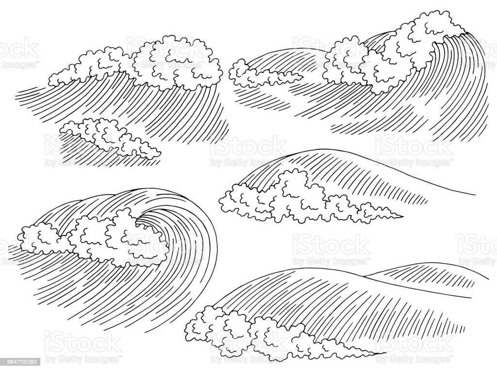 Sea wave graphic surf black white seascape sketch set illustration vector royalty-free sea wave graphic surf black white seascape sketch set illustration vector stock vector art & more images of black color