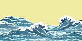 Sea wave horizontal seamless pattern in oriental vintage ukiyo-e style, realistic vector illustration.