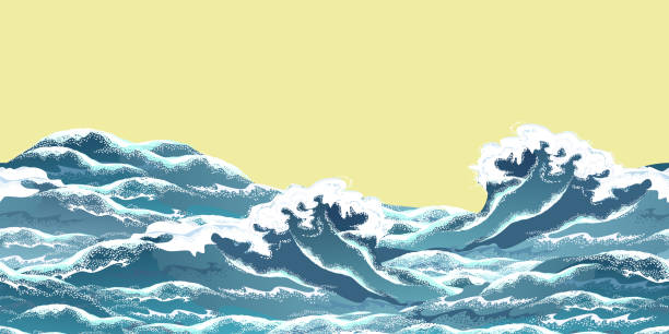 Sea wave horizontal seamless pattern in oriental vintage ukiyo-e style, realistic vector illustration. Sea wave horizontal seamless pattern in oriental vintage ukiyo-e style, realistic vector illustration on yellow background, ready for parallax effect. tide stock illustrations