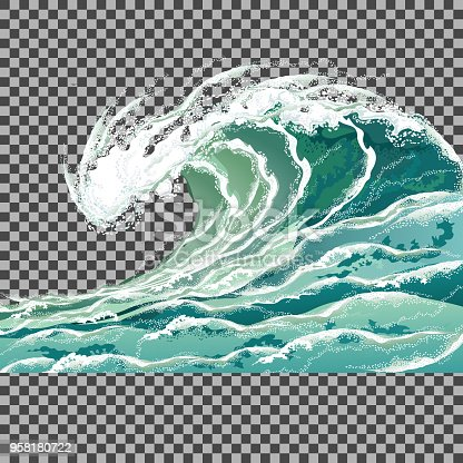 Sea wave. Hand drawn realistic vector illustration isolated on transparent background.
