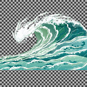 Sea wave, realistic vector illustration isolated on transparent background.