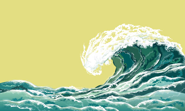 sea wave, realistic vector illustration. - tidal wave stock illustrations, clip art, cartoons, & icons