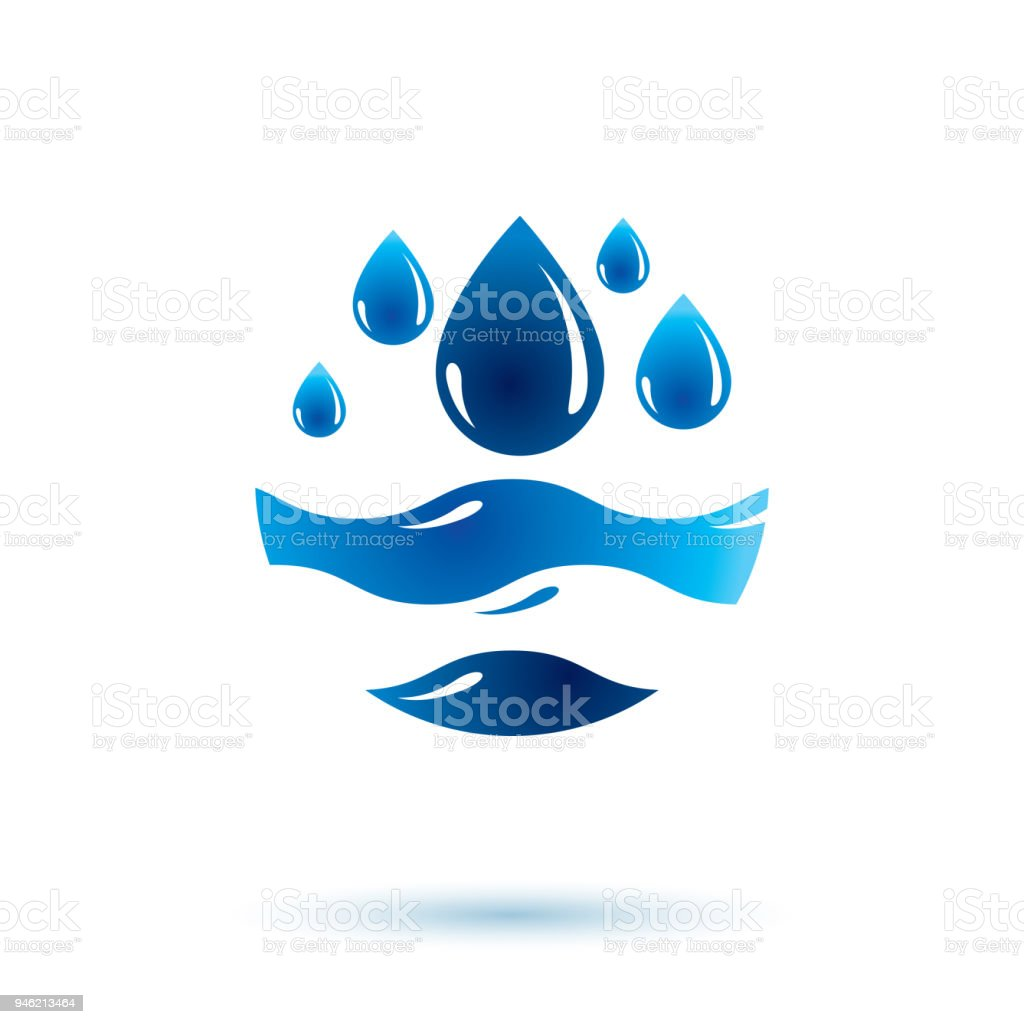 Sea Wave Splash Vector Symbol Pure Water As Most Important Resource
