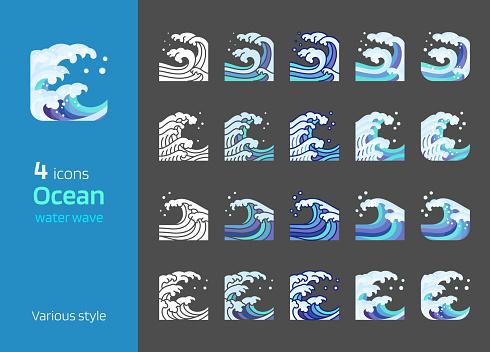 Sea wave water icon vector set