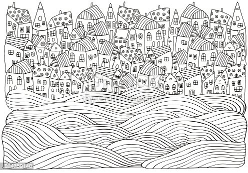 istock Sea Waves and houses. Seaside, homes, boat, sea, art background. Hand-drawn doodle vector. Black and white pattern for adult coloring book. 824359140