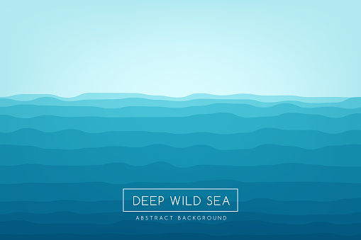Sea waves background. Blue abstract vector banner. clipart