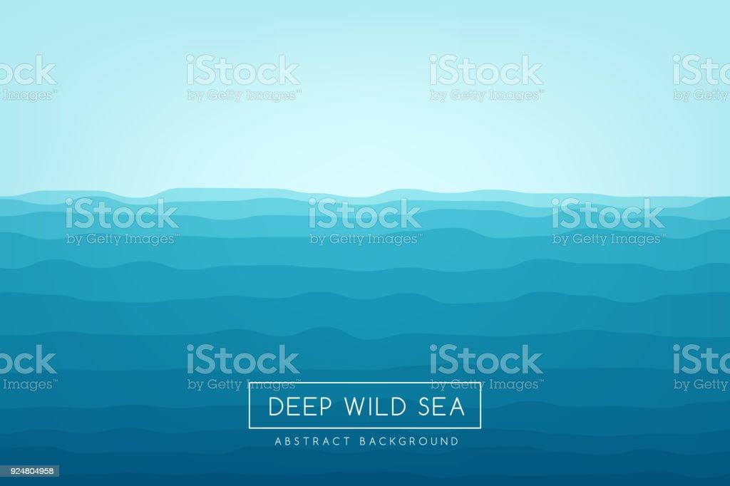 海の波の背景。青の抽象的なベクトルのバナーです。 ベクターアートイラスト