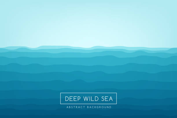 sea waves background. blue abstract vector banner. - море stock illustrations